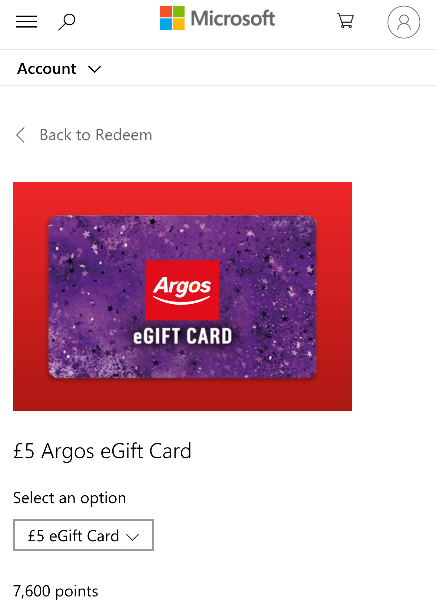Microsoft Rewards Argos Giftcard